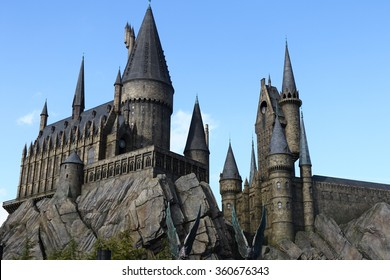 Osaka, Japan - January 11, 2016: The Wizarding World of Harry Potter in Universal Studios Japan. Universal Studios Japan is a theme park in Osaka, Japan.