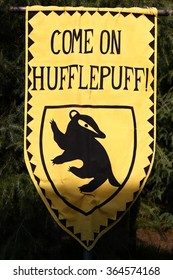 Osaka, Japan - January 11, 2016: The Wizarding World of Harry Potter in Universal Studios Japan. Universal Studios Japan is a theme park in Osaka, Japan.Harry Potter's dormitory flag,HUFFLEPUFF