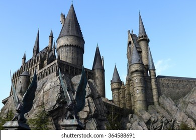 Osaka, Japan - January 11, 2016: The Wizarding World of Harry Potter in Universal Studios Japan. Universal Studios Japan is a theme park in Osaka, Japan.The phylum of the pig eagle