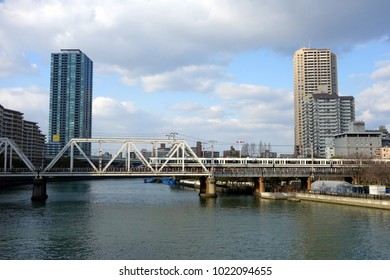 Osaka, Japan - January 13 2018: View of Sakuranomiya Iron Bridge at Osaka, Japan.