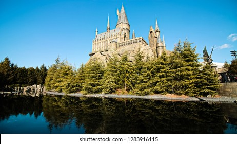 OSAKA, JAPAN - January 14, 2019 : Photo of Hogwarts School of Witchcraft and Wizardry replica at The Wizarding World of Harry Potter,Universal Studios Japan.Panorama view, Toned Photo.