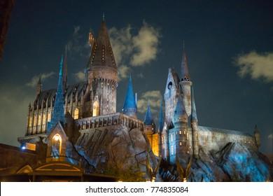 OSAKA, JAPAN - January 14,2017 : Hogwarts castle from Harry Potter movies close up at night