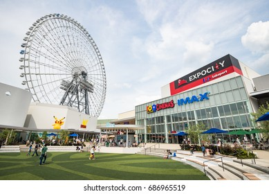 OSAKA, JAPAN - JULY 10, 2016: the LaLaport EXPO CITY with Ferris wheel. this place is a collection of shops and restaurants with a beguiling dash of entertainment.