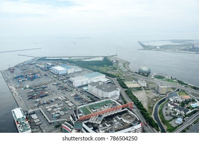 Osaka, Japan - July 12, 2016 : This Trade Center Mae area view has been taken from Observation Deck Cosmo Tower.There is a Logistic area.