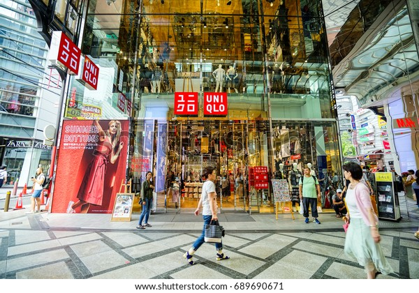OSAKA, JAPAN - JULY 17, 2017: OSAKA Uniqlo store.Uniqlo is Japan's leading clothing retail chain. It operates in many countries including the U.S.