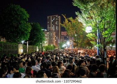 Osaka, Japan - July 25, 2015: Crowd of people leaving the Tenjin Matsuri summer festival