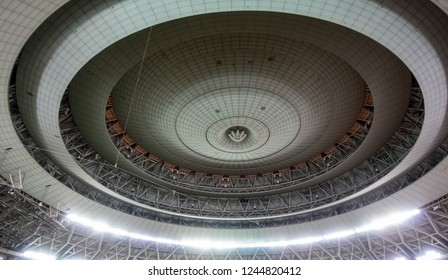 Osaka, Japan - July 28, 2018: Tiled spheres and circles with bright light emitting from base inside the Kyocera Dome, home to the Orix Buffaloes of Japanese professional baseball