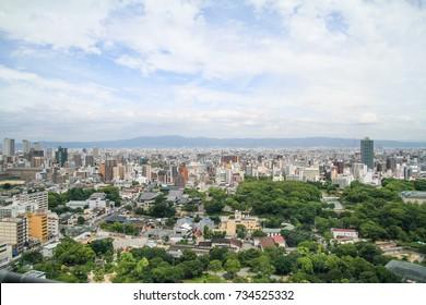 OSAKA, JAPAN - JULY 7, 2014: Osaka city view from Tsutenkaku observatory.