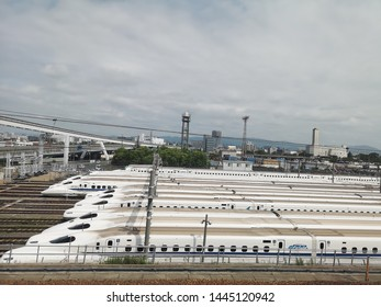 Osaka, Japan- Jun 09, 2019: Rail base yard for Shinkansen (Bullet train) is at Hakata-minami station. People living in Hakata-minami area use it for commercial route. A line-up of trains can be seen.