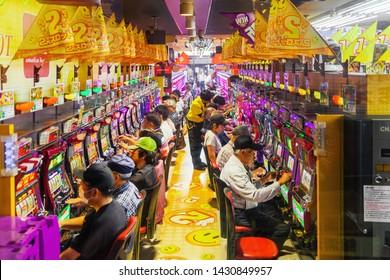 OSAKA, JAPAN - JUN 15 : Pachinko game center on June 15, 2019 in Osaka, Japan. Pachinko arcade game is the popular traditional Japanese gambling.
