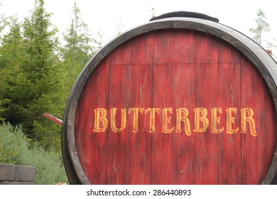 OSAKA, JAPAN - JUN 2, 2015 : Photo of Oak Barrel Containing BUTTERBEER, famous drink from Harry Potter containing 0% alcohol, at The Wizarding World of Harry Potter, Universal Studio, Osaka, Japan.