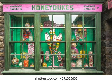 OSAKA, JAPAN - JUN 2, 2015 : Photo of HONEYDUKES , a magic homemade sweet shop replica for visitors, located in The Wizarding World of Harry Potter, Universal Studios, Osaka, Japan.