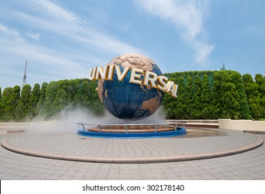 Osaka, Japan - JUN 9: Universal Globe outside the Universal Studios Theme Park in Osaka, Japan on Jun 9, 2015. The theme park has many attractions based on the film industry.