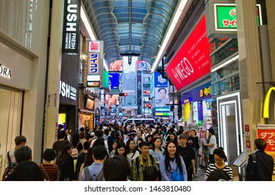 Osaka, Japan - June 10, 2019: Crowds of people flock to the famous indoor covered shopping street, the Shinsaibashi Shopping Street
