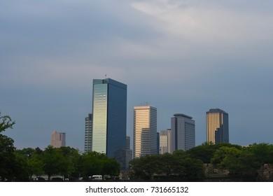 OSAKA, JAPAN - JUNE 1,2017: Building Cityscpae in Osaka with clear sky background , Osaka
