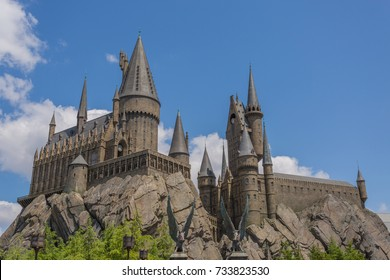 OSAKA, JAPAN - June 2, 2016. Universal Studios Japan. Photo of Hogwarts Castle. The Wizarding World of Harry Potter in USJ, Osaka Japan.