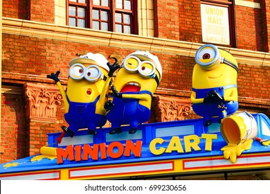 "OSAKA, JAPAN - June 24, 2017 : Statue of ""HAPPY MINION"", located in Universal Studios Japan, Osaka, Japan. Minions are famous character from Despicable Me animation."
