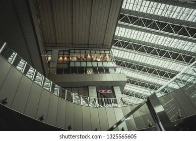OSAKA, JAPAN - MAR 2015 : Osaka station city  interior hall. Cinematic filter