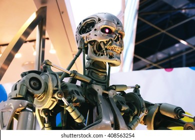 OSAKA, JAPAN - Mar 21, 2016 : Photo of the T-800 Endoskeleton from the Terminator 3D,one of the most famous attraction at Universal Studios JAPAN, Osaka, Japan.