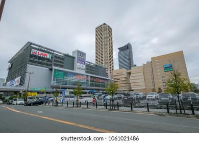 OSAKA , JAPAN - MAR 21 2018 : The Namba Park is the famous garden theme department store in Namba district , Osaka.