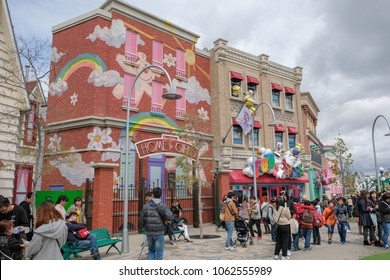 OSAKA, JAPAN - MAR 22 2018 : The Minion Park is the new famous zone in the Universal Studios Japan.