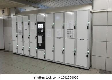 OSAKA, JAPAN - MAR 22 2018 : The lockers for rent at Namba Station, Osaka  , Japan.