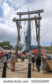 OSAKA, JAPAN - MAR 22 2018 : Peoples are waiting in the line for taking the picture with Jaws at the Universal Studios Japan.