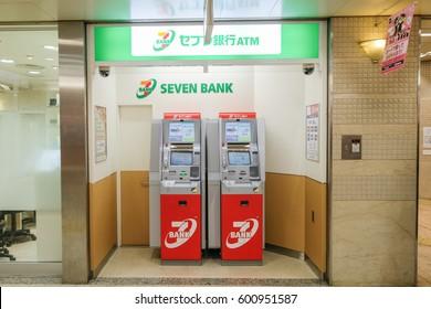 OSAKA , JAPAN - Mar 7 : The Seven Bank ATM machine at Namba Station , Osaka , Japan on Mar 7 2017.