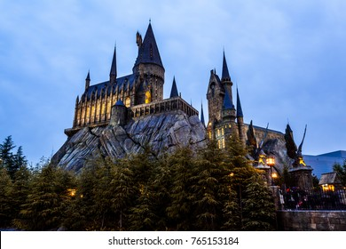 OSAKA, JAPAN - MARCH 20, 2017 : Hogwarts School in Harry Potter Attraction Zone in Universal Studio Japan