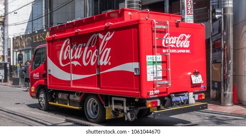 OSAKA, JAPAN - MARCH 28TH, 2018. Coca cola delivery truck in the street of Osaka.