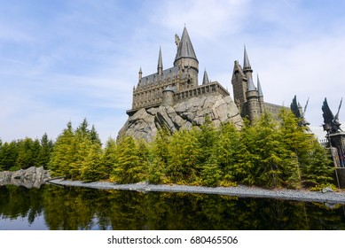 Osaka, Japan - MARCH 29 2016 : Hogwarts Castle in The Wizarding World of Harry Potter zone Universal Studios Theme Park in Osaka, Japan.