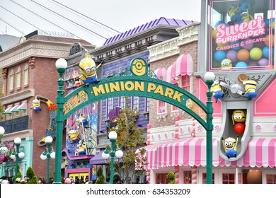 "OSAKA, JAPAN - May 04, 2017 : Photo of ""MINION PARK ENTRANCE"" shop, located in Universal Studios JAPAN, Osaka, Japan. Minions are famous characters from Despicable Me animation."