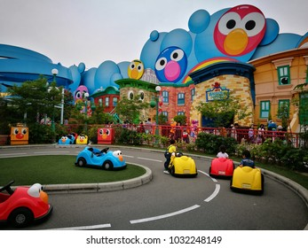 Osaka, Japan - May 13, 2017: Elmo's Little Drive in Universal studio theme park, Osaka, Japan