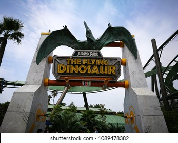 Osaka, Japan - May 13, 2017: The Flying Dinosaur ride in Jurassic Park zone in Universal studio theme park, Osaka, Japan