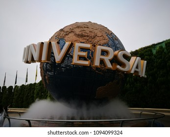 Osaka, Japan - May 13, 2017: Universal Globe outside the Universal Studios Theme Park in Osaka, Japan
