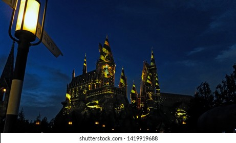 Osaka, Japan - may 15, 2019: The Hogwarts School of Witchcraft and Wizardry in Universal Studio Japan. The Wizarding World of Harry Potter night show - Hufflepuff faculty.