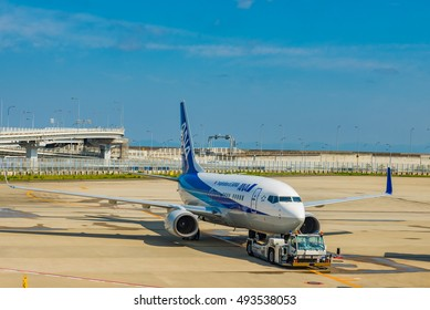 OSAKA, JAPAN - MAY 17: Kansai International Airport in Japan on May 17, 2016. Kansai International Airport is an international airport located on an artificial island in the middle of Osaka Bay.