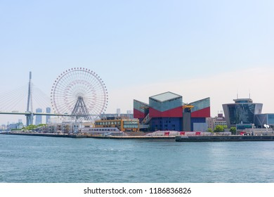 OSAKA, JAPAN - MAY 20, 2016: View of Osaka bay and Tempozan ferris wheel