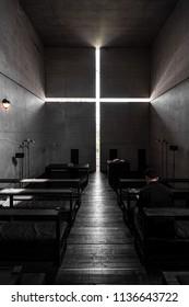 OSAKA, JAPAN - MAY 20, 2018: Interior of Ibaraki Kasugaoka Church or Church of the light. Church of the light is famous church designed by Tadao Ando.