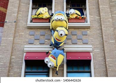 Osaka, Japan - May 24, 2019 : Minions (Character from Despicable Me) in Minion Park at Universal Studio Japan in Osaka