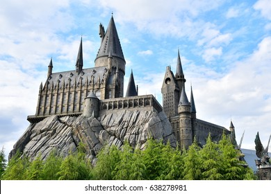 OSAKA, JAPAN - May 4, 2017. Photo of Hogwarts Castle. The Wizarding World of Harry Potter in Universal Studios Japan. Universal Studios Japan is a fun and famous theme park in Osaka, Japan.
