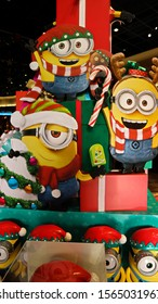 OSAKA, JAPAN - Nov 13, 2019 : Close up of Christmas version of HAPPY MINION statue in Universal Studios Japan. Minions are famous character from Despicable Me animation.