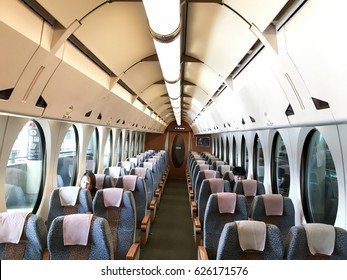 """Osaka, Japan- Nov 2016: Inside of the train that is a limited express service between Kansai Airport Station and Namba Station. The name is pronounced """"rapido"""" and means simply """"rapid""""."""