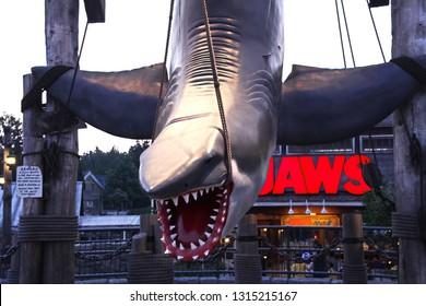 OSAKA, JAPAN - Nov 26, 2018 : Photo of the JAWS shark,one of the most famous attraction at Universal Studios Japan, Osaka, Japan.