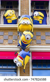 Osaka, JAPAN - NOVEMBER 03 2017: Statue of Minions from Despicable Me Minion Mayhem Movie at Minion Park in Universal Studios JAPAN.Universal Studios JAPAN is a theme park in Osaka.