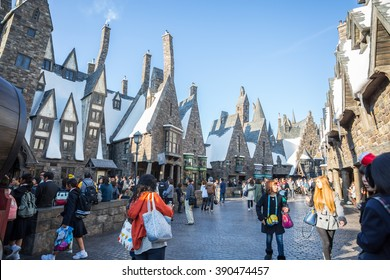 Osaka, Japan - November 10, 2015: The Wizarding World of Harry Potter in Universal Studios Japan. Universal Studios Japan is a theme park in Osaka, Japan.Hogwarts Castle