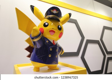 OSAKA JAPAN - NOVEMBER 14, 2018: Pokemon Japanese animation character Pikachu. Pokemon is a fictional creature created by Satoshi Tajiri in 1995