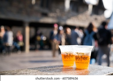 OSAKA, JAPAN - NOVEMBER 17, 2016 : glasses of Butterbeer famous drinks in Harry Potter movies on display in Universal Studios Japan