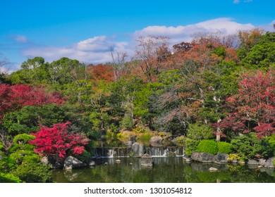 Osaka, Japan - November 17, 2018: Japanese garden of Expo'70 commemorative park in autumn, shot in Osaka, Japan.