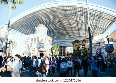 Osaka, Japan - November 2, 2017 - The theme park attractions based on the film industry at Universal Studios Theme Park in Osaka, Japan.
